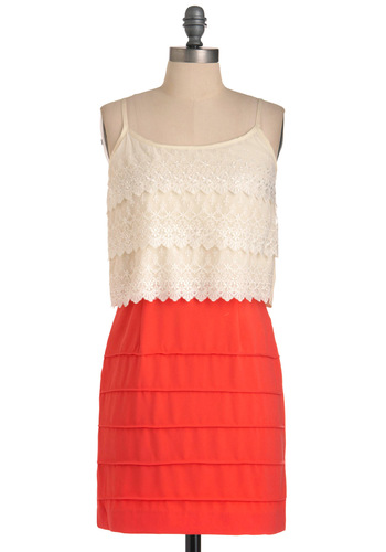 Shore Do Dress - Short, Orange, Lace, Spaghetti Straps, White, Scallops, Tiered, Party, Mini, Shift, Summer