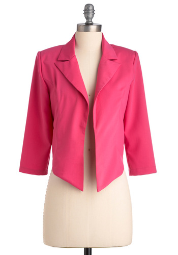 Don't Pink Twice Jacket - Pink, Solid, 3/4 Sleeve, Casual, Statement, Spring, 1, Short