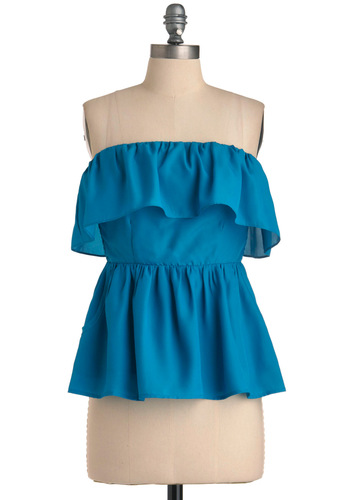 Having a Bali Top - Blue, Solid, Ruffles, Strapless, Casual, Pockets, Summer, Mid-length