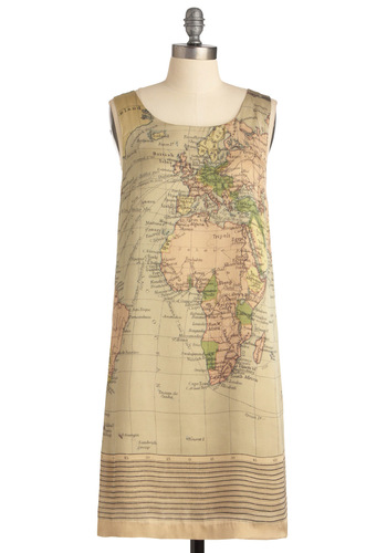 Cartography Degree Dress - Tan, Novelty Print, Sheath / Shift, Cutout, Sleeveless, Multi, Orange, Yellow, Green, Party, Mid-length, International Designer
