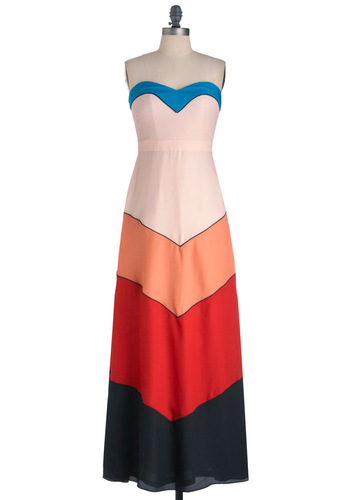 For the Wind Dress - Long, Multi, Red, Orange, Blue, Black, Statement, Maxi, Strapless, Summer