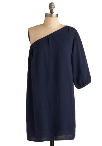 Look Over Your Shoulder Dress - Blue, Solid, Casual, Urban, One Shoulder, Short