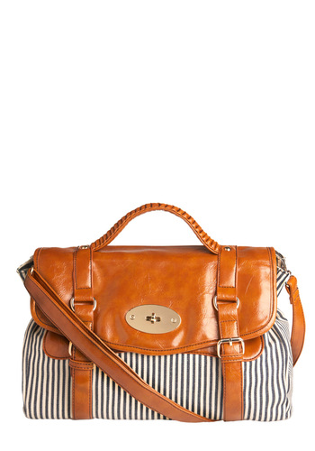 Reach New Levels Satchel - Stripes, Casual, Nautical, Urban, Spring, Summer, Blue, Tan / Cream, White, Work