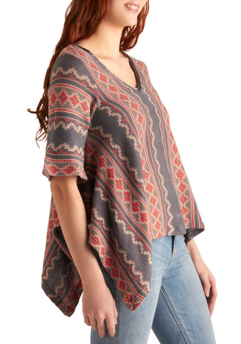 A Bold New Path Top - Print, Short Sleeves, Casual, Folk Art, Pink, Grey, White, Handkerchief, Boho, Spring, Short