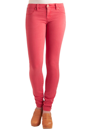 Bookish Babe Jeans in Strawberry by Blank NYC - Long, Casual, Urban, Pink, Solid, Denim