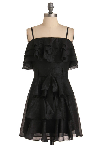 My Glitter Black Dress - Short, Black, Solid, Bows, Ruffles, Tiered, Shift, Spaghetti Straps, Party, Mini