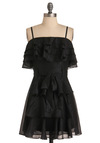 My Glitter Black Dress - Short, Black, Solid, Bows, Ruffles, Tiered, Sheath / Shift, Spaghetti Straps, Party, Mini