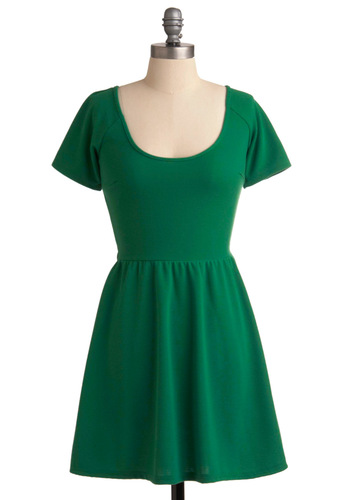 Shamrock Star Dress - Casual, Green, Solid, Backless, A-line, Short Sleeves, Short, Scoop
