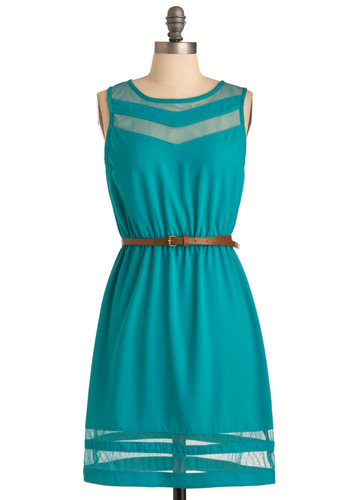 Chevron the Seaside Dress - Mid-length, Green, Cutout, Solid, Casual, Shift, Sleeveless, Summer