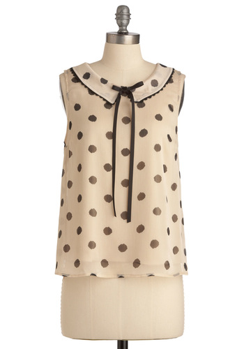 Smack-Dab Adorable Top - White, Black, Polka Dots, Bows, Vintage Inspired, Scallops, Work, Sleeveless, Mid-length