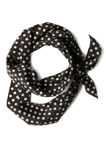 Bow to Stern Scarf in Black Dots - Vintage Inspired, Black, White, Polka Dots, Summer, Pinup, Basic, Work, Top Rated