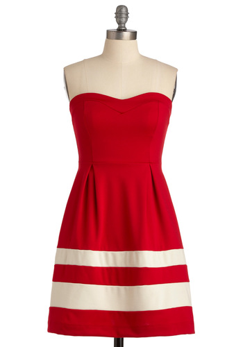 Wheel Be There Soon - Red, White, Stripes, Pleats, Strapless, Exposed zipper, Casual, Nautical, A-line, Summer, Mid-length