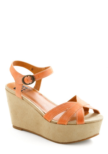 Orange You Dreamy Wedge by BC Shoes - Orange, Tan / Cream, Solid, Summer, Wedge