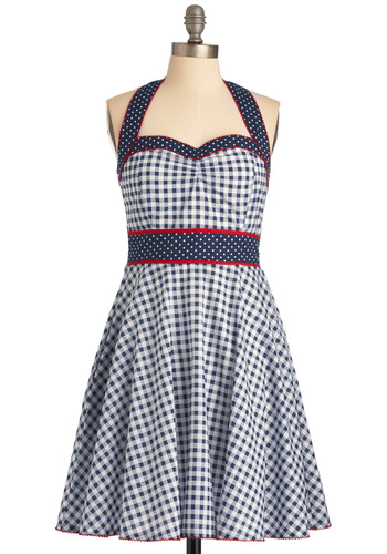 Casco Bay Brunch Dress - Blue, Checkered / Gingham, Pockets, A-line, Halter, Red, White, Polka Dots, Casual, Nautical, Vintage Inspired, 50s, Summer, Print, Mid-length
