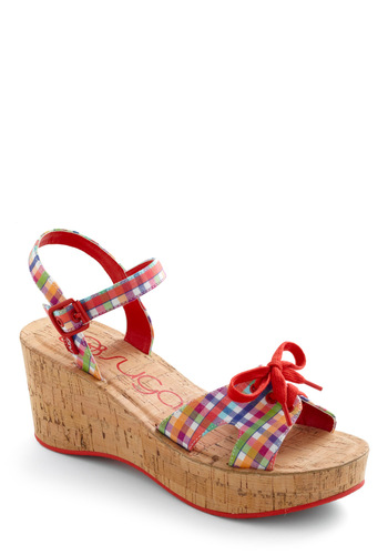 Boardwalk Arcade Wedge - Pinup, Multi, Plaid, Bows, Summer, Wedge