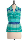 Aloe Be There Top - Mid-length, Green, Blue, Stripes, Buttons, Sleeveless, Vintage Inspired, 60s