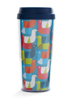 Energy Roost Travel Mug - Blue, Red, Orange, Green, Pink, White, Print with Animals, Eco-Friendly