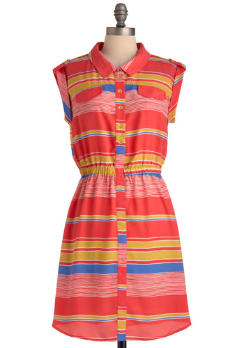 Sunlight Up My Life Dress - Mid-length, Yellow, Blue, White, Stripes, Buttons, Pockets, Sheath / Shift, Sleeveless, Casual, Nautical, Summer, Print, Multi, Red, Button Down, Collared