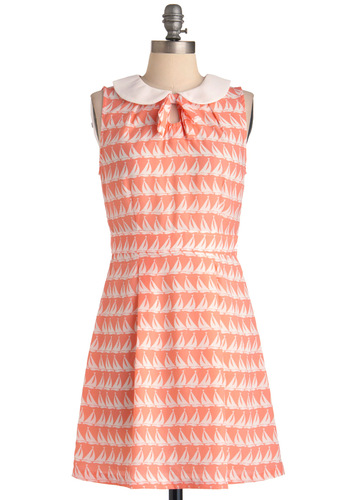 Yawl Come Back Dress - Mid-length, White, Print, Bows, Peter Pan Collar, Sheath / Shift, Sleeveless, Casual, Nautical, Orange, Pleats, Summer