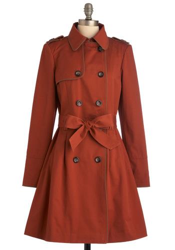 The Rust of the Best Coat - Long, Brown, Solid, Buttons, Long Sleeve, Epaulets, Pockets, Work, A-line, Spring, 2