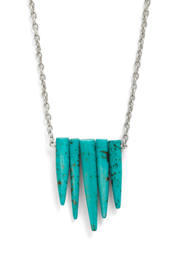 Wish I May, Wish I Stalagmite Necklace - Blue, Silver, Chain, Boho