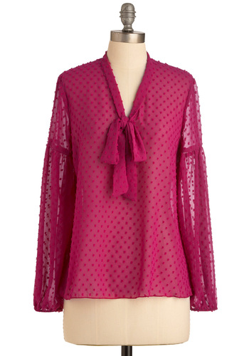 Only As Bold As You Feel Top - Mid-length, Pink, Bows, Long Sleeve, Solid, Work