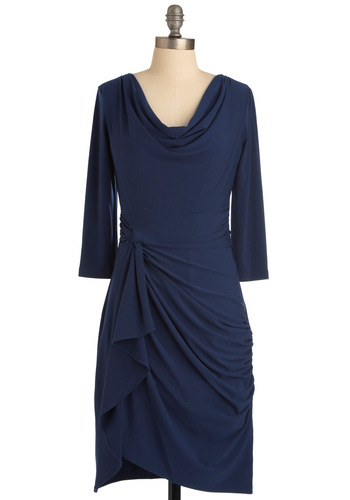 Dance Steps to Success Dress - Mid-length, Blue, Solid, Ruffles, Shift, 3/4 Sleeve, Work