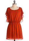 Make Bloom for You Dress - Short, Casual, Orange, Black, Floral, Ruffles, Sheath / Shift, Short Sleeves, Sheer