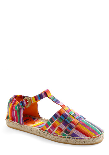 Globetrotting Connoisseur Flat - Multi, Stripes, Buckles, Casual, Boho, Summer, Good, T-Strap