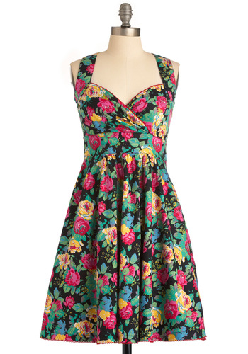Garden Gorgeous Dress - Multi, Floral, A-line, Party, Pinup, 40s, 50s, Multi, Yellow, Green, Pink, Black, Halter, Long, Cocktail, Cotton, Sweetheart, Tis the Season Sale
