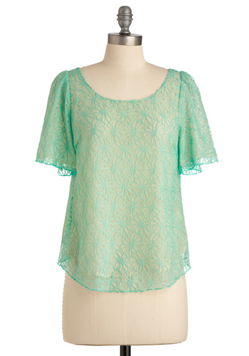 Fondant Flowers Top - Mid-length, Green, Tan / Cream, Floral, Buttons, Lace, Short Sleeves, Spring