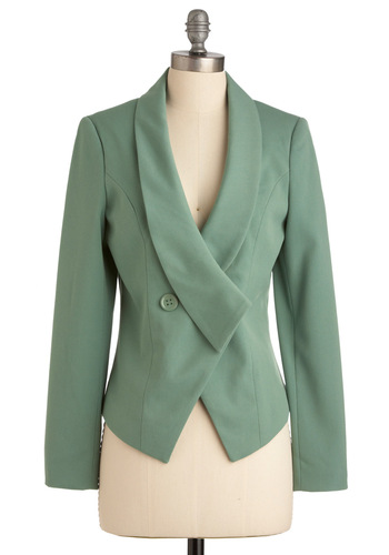 Pistachio Wow Blazer - Mid-length, Green, Buttons, Long Sleeve, Work, Menswear Inspired, Solid, Spring, 1.5