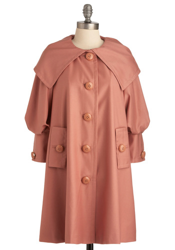 Macaron to Something Coat - Long, Buttons, Pockets, Long Sleeve, Vintage Inspired, 60s, Pink, Solid, Spring, 2