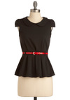 Peplum Squad Top - Black, Red, Buckles, Peter Pan Collar, Pleats, Cap Sleeves, Vintage Inspired, Mid-length, Solid, Work, 60s