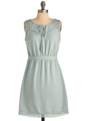 Chill Seeker Dress - Mid-length, Solid, Embroidery, A-line, Sleeveless, Blue, Casual, Tie Neck, Sheer, Pastel