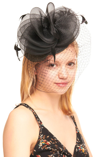 Featherly Hills Fascinator - Black, Solid, Feathers, Flower, Lace, Special Occasion, Wedding, Vintage Inspired