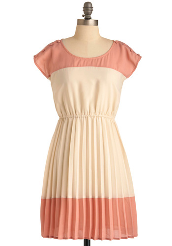 Dessert Date Dress - Mid-length, Cream, Pink, Buttons, Pleats, Short Sleeves, Casual, Sheath / Shift, Spring