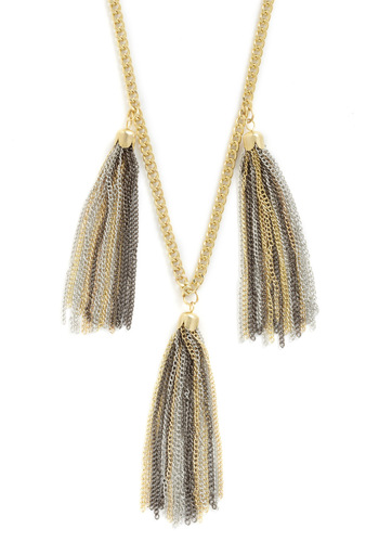 Precious Metal Palette Necklace - Gold, Silver, Tassels