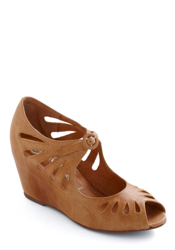 Cutout Cookie Wedge by Jeffrey Campbell - Brown, Solid, Cutout, Wedge, Mid, Leather, Variation