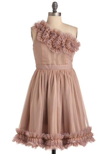 Ruffle Vision Dress - Mid-length, Pink, Solid, Ruffles, Trim, A-line, One Shoulder, Prom, Spring