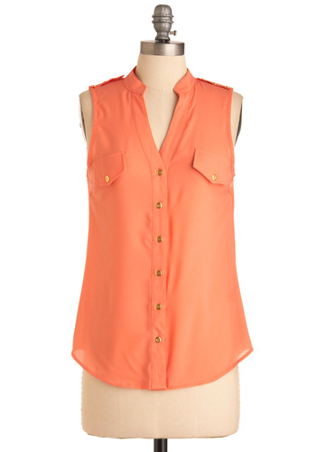 Cantaloupe for the Best Top - Mid-length, Orange, Solid, Buttons, Pockets, Sleeveless, Casual, Epaulets, Summer