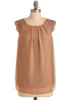 Veil-Safe Plan Top - Tan, Braided, Cutout, Sleeveless, Print, Casual, Long, Sheer