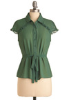 Practical Yoke Top - Mid-length, Green, Solid, Buttons, Ruffles, Cap Sleeves, Belted, Sheer