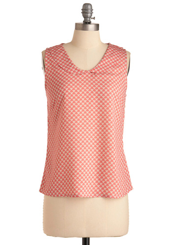 Love It Top - Mid-length, Pink, Novelty Print, Peter Pan Collar, Sleeveless, Casual, Tan / Cream, Spring
