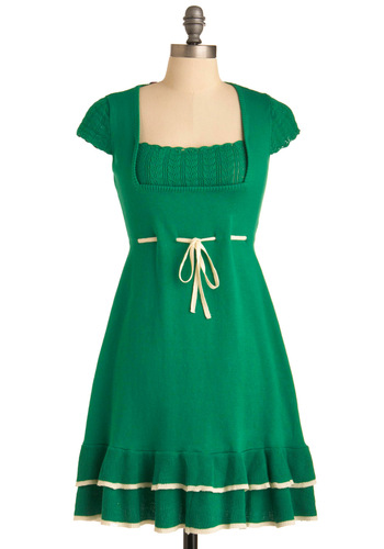 Feeling Plucky Dress - Mid-length, Green, Tan / Cream, Solid, Trim, A-line, Cap Sleeves, Ruffles, Tiered, Sweater Dress, International Designer