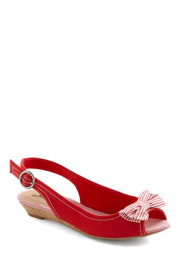 Beach Duty Wedge - Red, White, Solid, Stripes, Bows, Buckles, Casual, Nautical, Summer, Peep Toe, Low, Beach/Resort