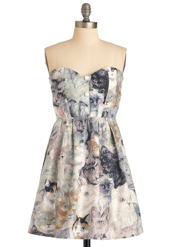 Feline Fabulous Dress - Multi, A-line, Strapless, Print with Animals, Pleats, Casual, Spring, Summer, Fall, Mid-length