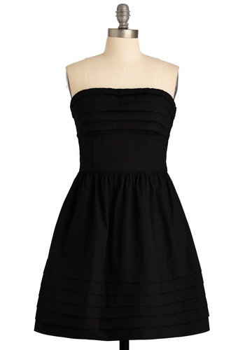 What a Keeper Dress in Black by Jack by BB Dakota - Black, Solid, Pleats, Pockets, A-line, Strapless, Mid-length