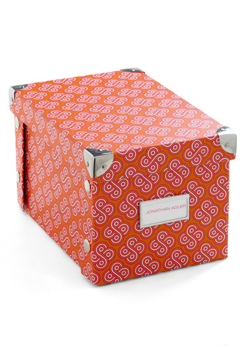 Fit to be Tidy Box in Small - Orange, Pink, White, Print, Dorm Decor