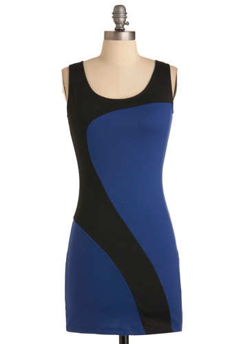 Swishing Gears Dress - Mini, Sleeveless, Blue, Black, Party, Girls Night Out, Bodycon / Bandage, Short
